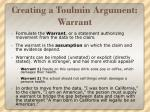 creating a toulmin argument warrant