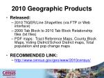 2010 geographic products