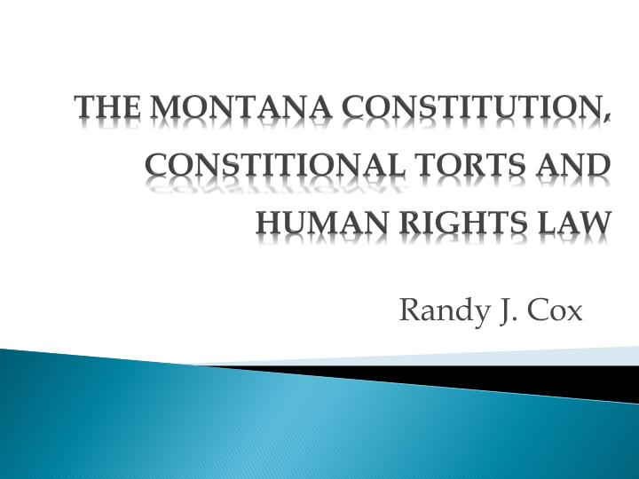 the montana constitution constitional torts and human rights law n.