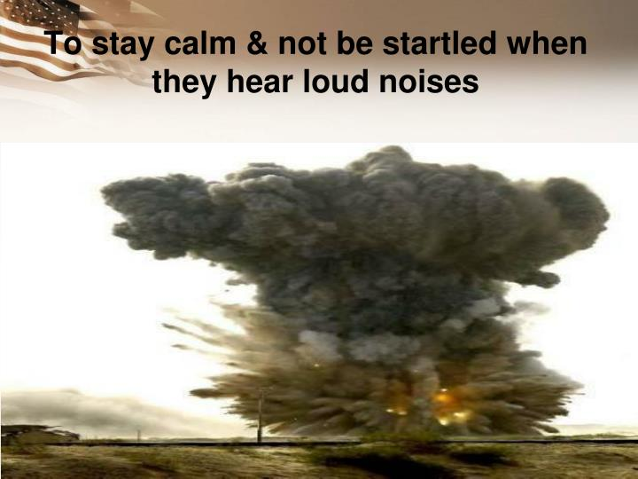 To stay calm & not be startled when they hear loud noises