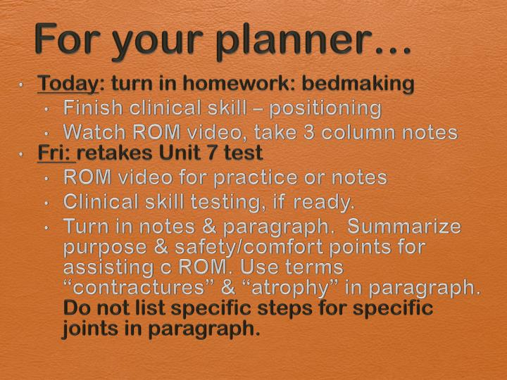 for your planner n.