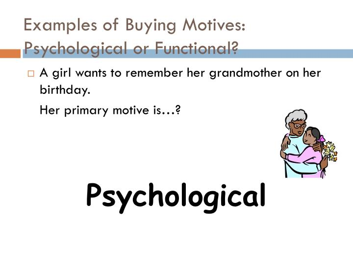 various buying motives with examples