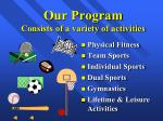our program consists of a variety of activities