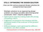 ets1 c optimizing the design solution