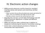 iv electronic action changes