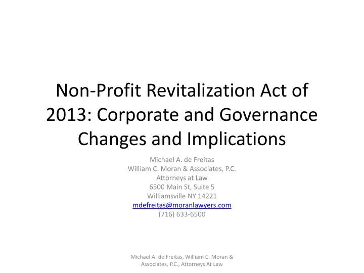 non profit revitalization act of 2013 corporate and governance changes and implications n.