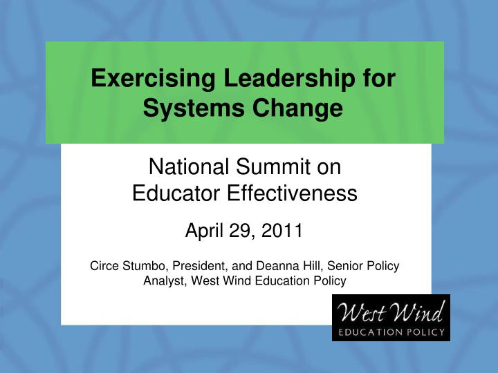 exercising leadership for systems change n.