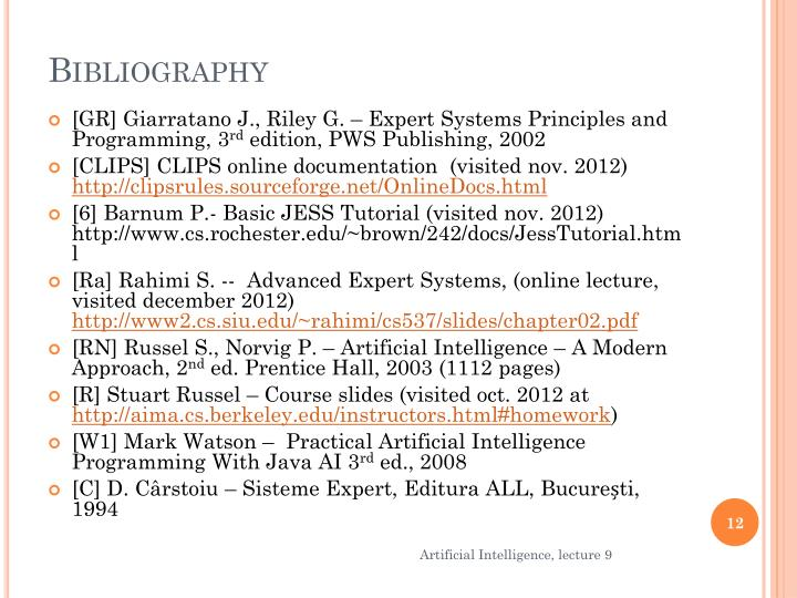 Ppt artificial intelligence lecture 9 powerpoint presentation id gr giarratano j riley g expert systems principles and programming 3rd edition pws publishing 2002 fandeluxe Choice Image