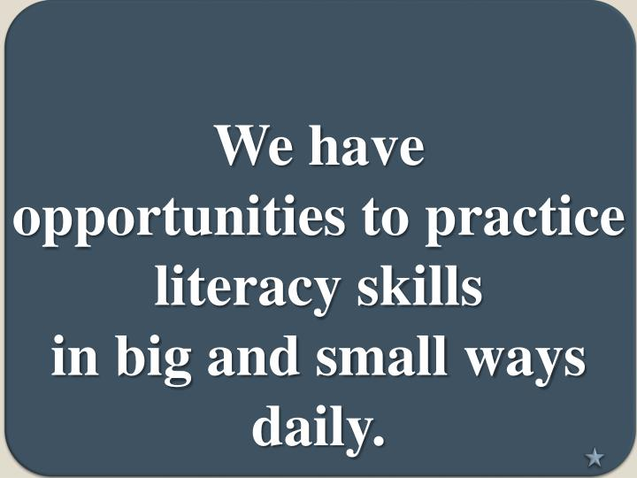 we have opportunities to practice literacy skills in big and small ways daily n.