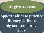 we have opportunities to practice literacy skills in big and small ways daily1