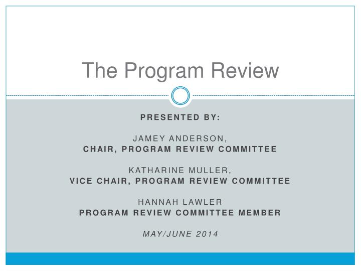 the program review n.