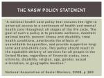 the nasw policy statement