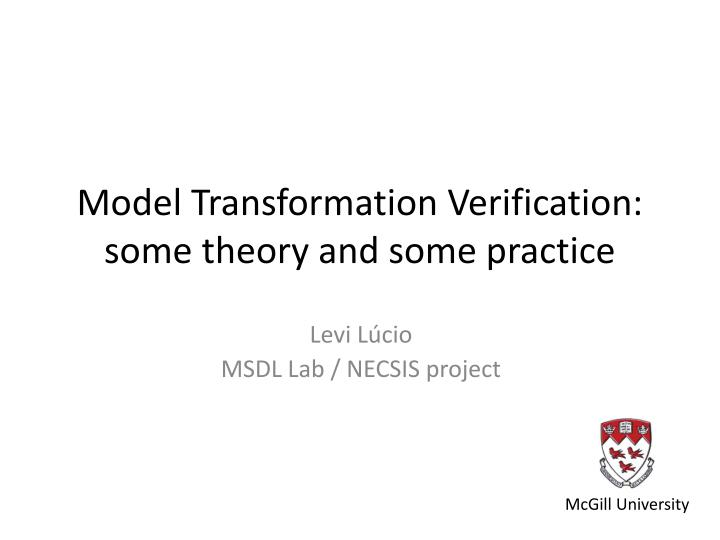 model transformation verification some theory and some practice n.
