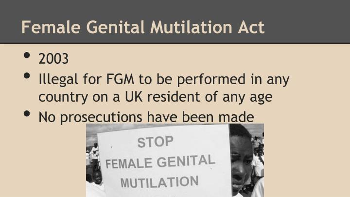 a look at the prevalence of the practice of female genital mutilation in america Genital mutilation: a case of religious freedom  liberty protects the practice of female genital mutilation  prevalence in religiously diverse.