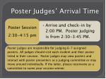 poster judges arrival time