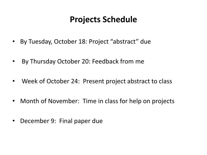 projects schedule n.
