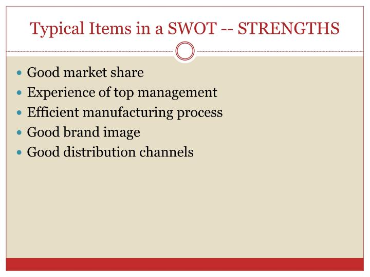 Typical Items in a SWOT -- STRENGTHS