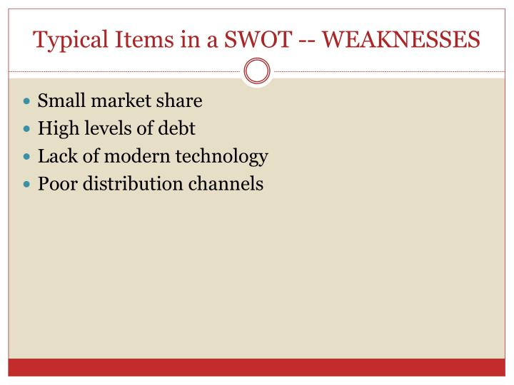 Typical Items in a SWOT -- WEAKNESSES