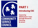 part i introducing csc improving oklahomans lives through research planning action