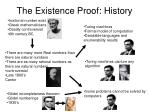 the existence proof history