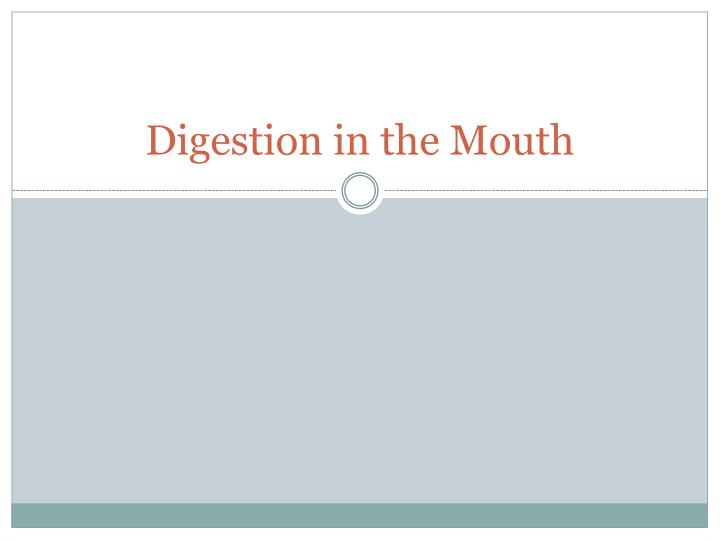 digestion in the mouth n.