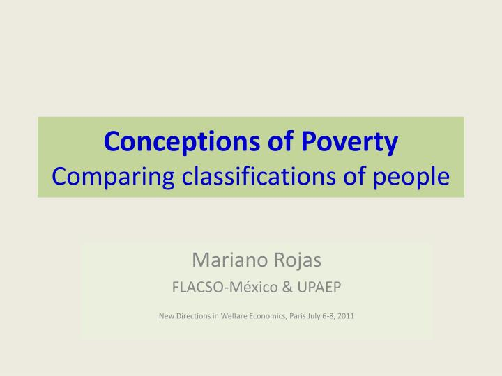 conceptions of poverty comparing classifications of people n.