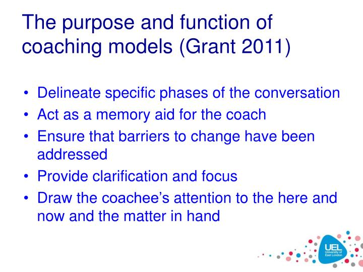 The purpose and function of coaching models (Grant 2011)