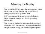 adjusting the display