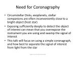 need for coronagraphy