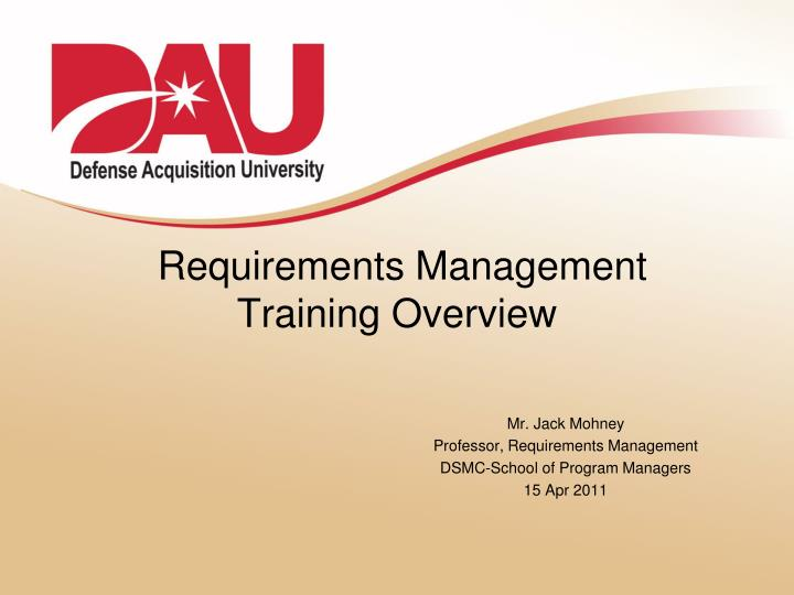 requirements management training overview n.