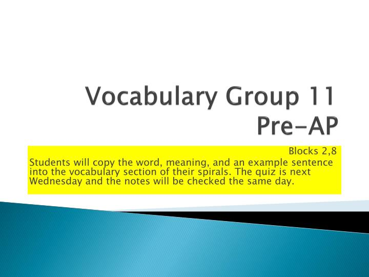 vocabulary group 11 pre ap n.