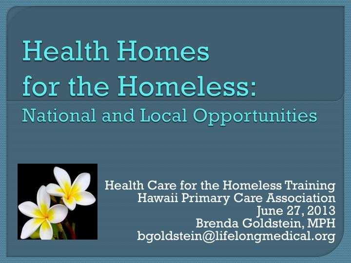 health homes for the homeless national and local opportunities n.