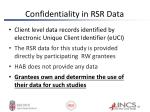 confidentiality in rsr data
