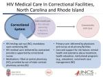hiv medical care in correctional facilities north carolina and rhode island