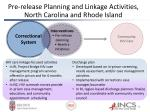 pre release planning and linkage activities north carolina and rhode island