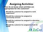 assigning activities