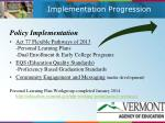 implementation progression