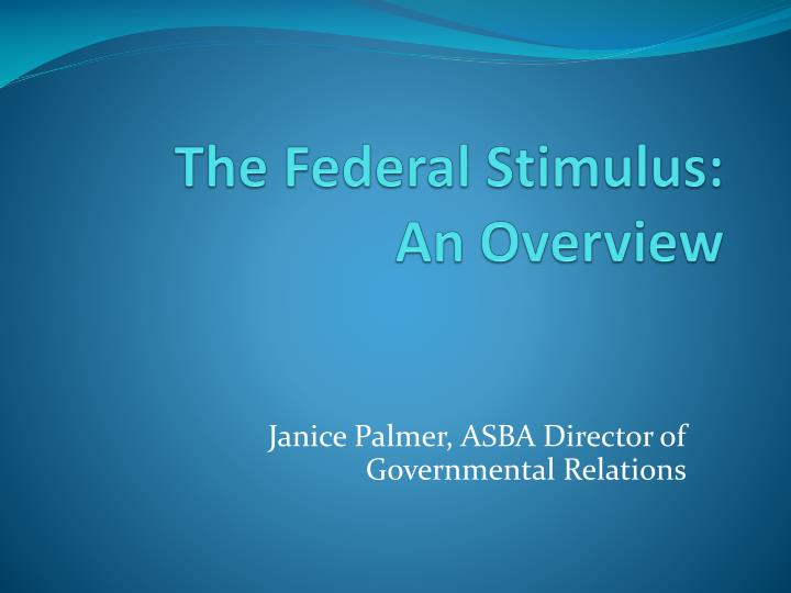 the federal stimulus an overview n.