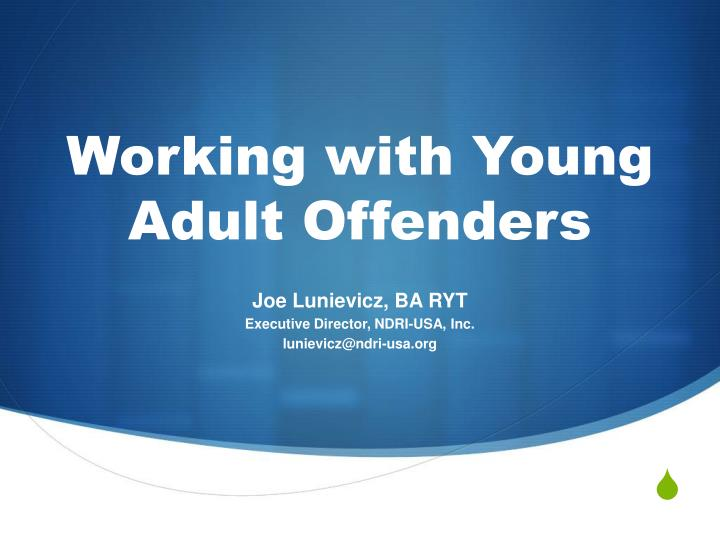 working with young adult offenders n.