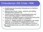 ombudsman ni order 1996