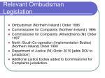 relevant ombudsman legislation