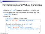 polymorphism and virtual functions