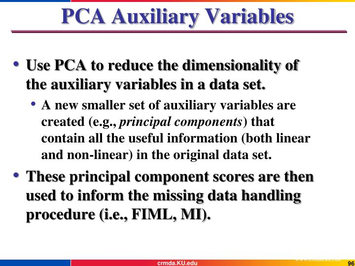 PCA Auxiliary Variables