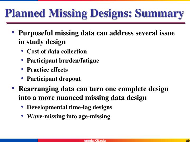 Planned Missing Designs: Summary