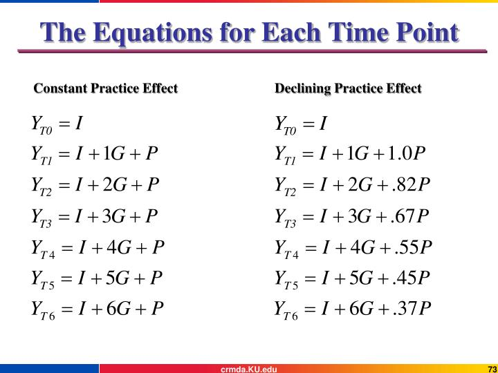 The Equations for Each Time Point