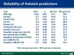 reliability of holstein predictions