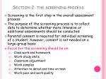 section 2 the screening process