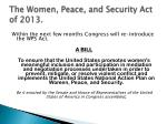 the women peace and security act of 2013