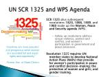 un scr 1325 and wps agenda