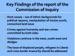 key findings of the report of the commission of inquiry